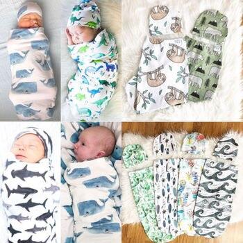 Newborn Baby Sleeping Bag Cute Cartoon Animal Printed Swaddle Blanket Sleeping Swaddle Muslin Wrap+Hat 2pcs New Born Set 4