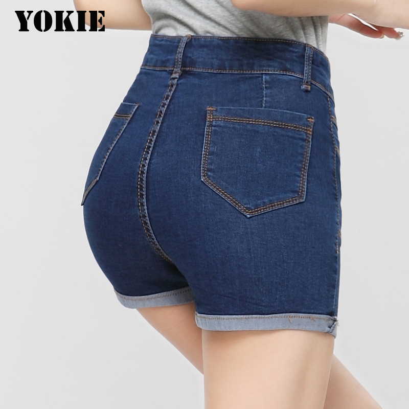 2016 New Fashion women's jeans Summer High Waist Stretch Denim Shorts Skinny Casual women Jeans Shorts Hot Plus Size 26-32 chicd 2017 new women basic shorts summer fashion slim mid waist white letter printing pockets denim jeans shorts mujer xp377