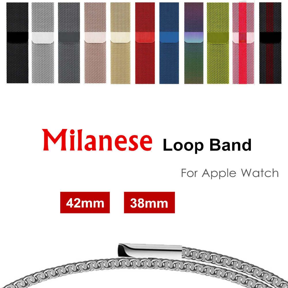 Milanese loop band for apple watch 42mm 38mm Stainless Steel metal strap Bracelet watchband for iwatch series 3/2/1 Accessories