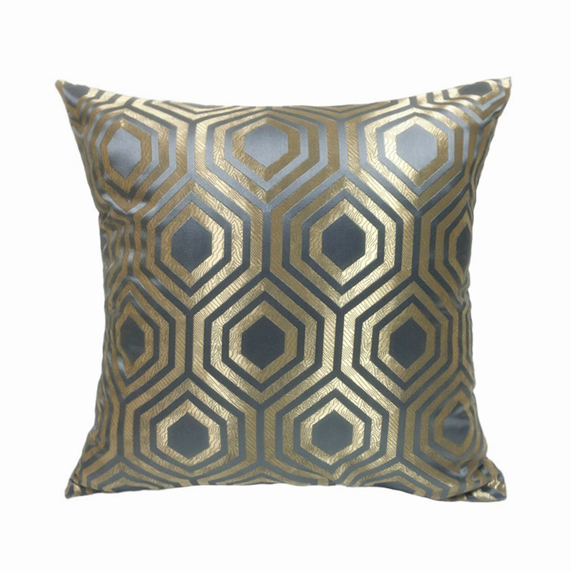 Contemporary Geometric Pillows Gray Blue Beige Jacquard Woven Cushion Cover Square Decorative Pillow Case 45 x 45 cm Sell by pc