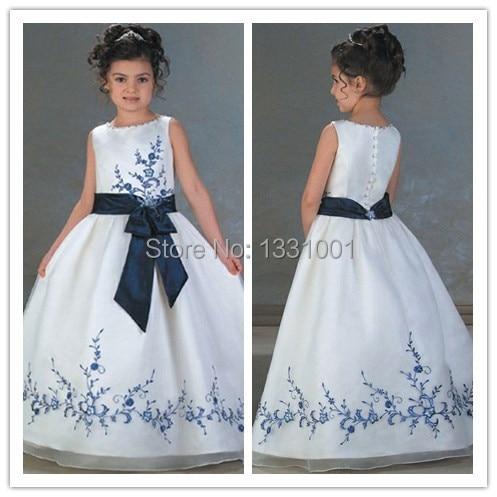 Vestidos de nina para boda blanco con azul