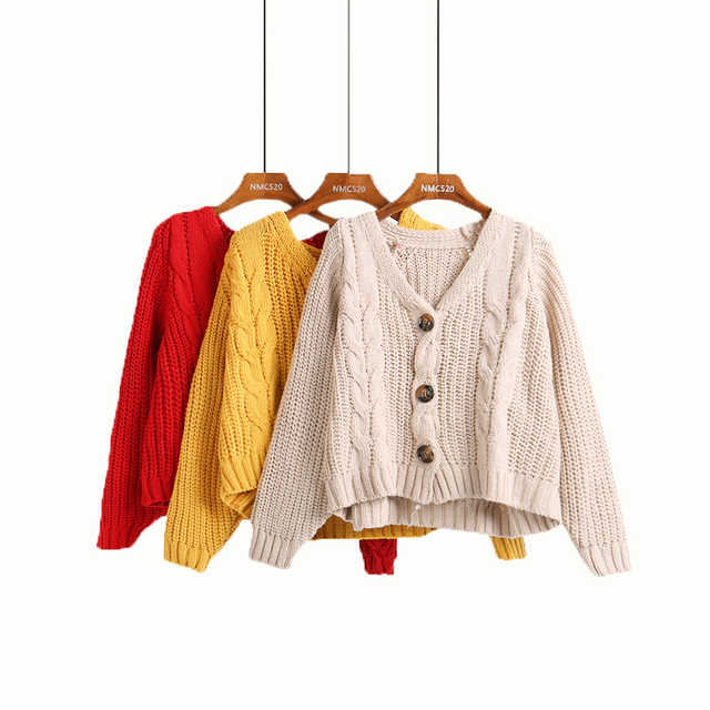 Vintage Twist Single-breasted Cardigans Sweater Casual Women Short Bat Sleeve Knit Coat 2018 Autumn Winter Loose Sweater Outwear