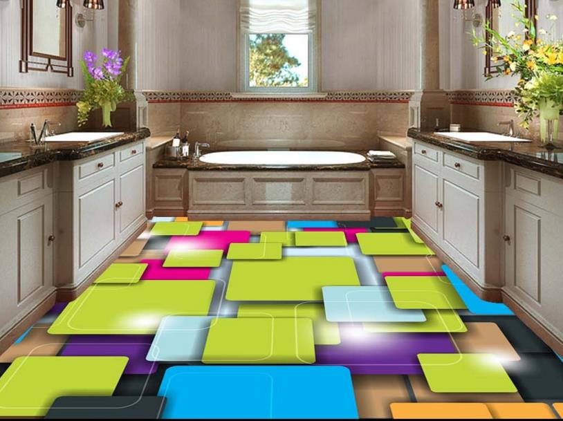 ФОТО 3d floor painting custom 3D stereo color squares abstract 3d floor tiles self adhesive wallpaper vinyl flooring waterproof