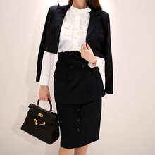 2 piece outfits for women fashion OL temperament striped small suit jacket + fake two-piece skirt womens two sets
