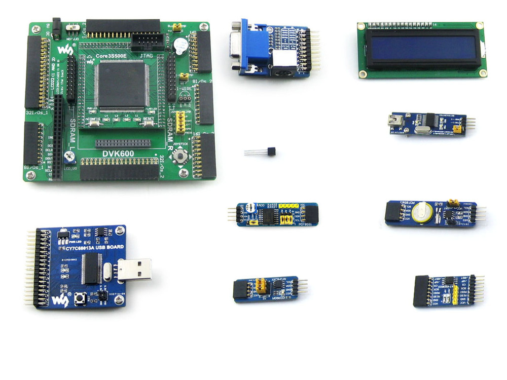XILINX FPGA Development Board Xilinx Spartan-3E XC3S500E Evaluation Kit+ 10 Accessory Kits= Open3S500E Package A from Waveshare waveshare xc3s250e xilinx spartan 3e fpga development board 10 accessory modules kits open3s250e package a