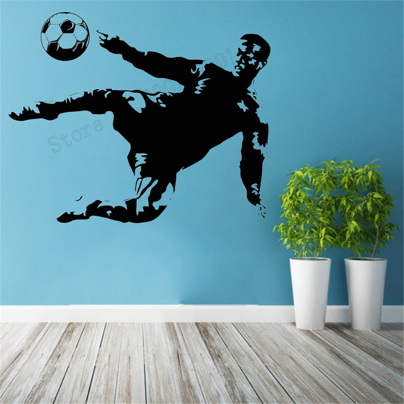 Wall Art Sticker Soccer Player Sports Room Decoration For Boys Man Football Sticker Active Mural World Modern Poster LY410 image