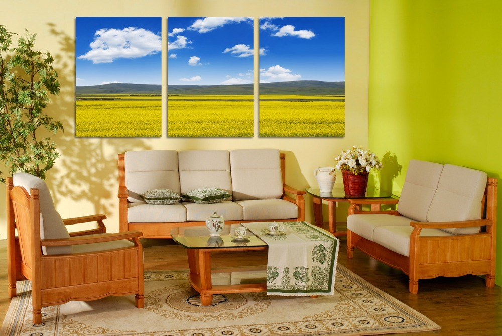 3 piece wall decor Blue sky canvas painting Beautiful wall painting ...