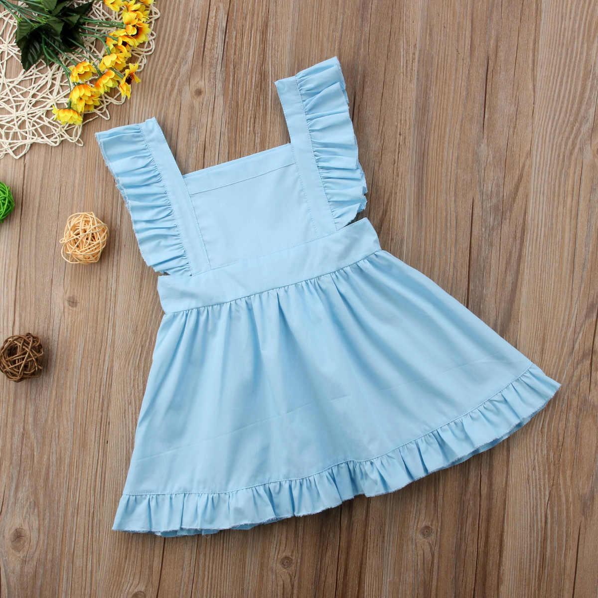 7496e51ea49 ... 0-5Y Newborn Infant Kids Baby Girl Summer Blue Tutu Dress Princess Party  Wedding Bowknot ...