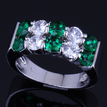 Flawless Round Green Cubic Zirconia White CZ 925 Sterling Silver Ring For Women V0083 925 sterling silver dragon claw round green cz eye mens biker skull ring 9m202a