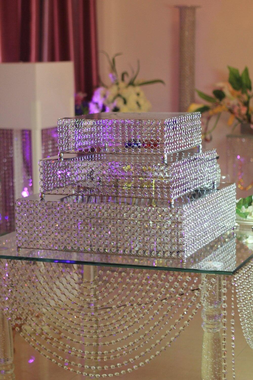 3 pcs/ensemble Cristal de mariage gâteau plateau stand Argent/or-De Mariage pièce maîtresse-Gâteau De Mariage Affichage/de table de mariage pièce maîtresse