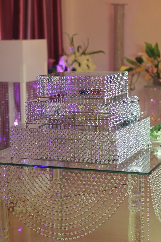 3pcsset Crystal Wedding Cake Tray Stand Silvergold