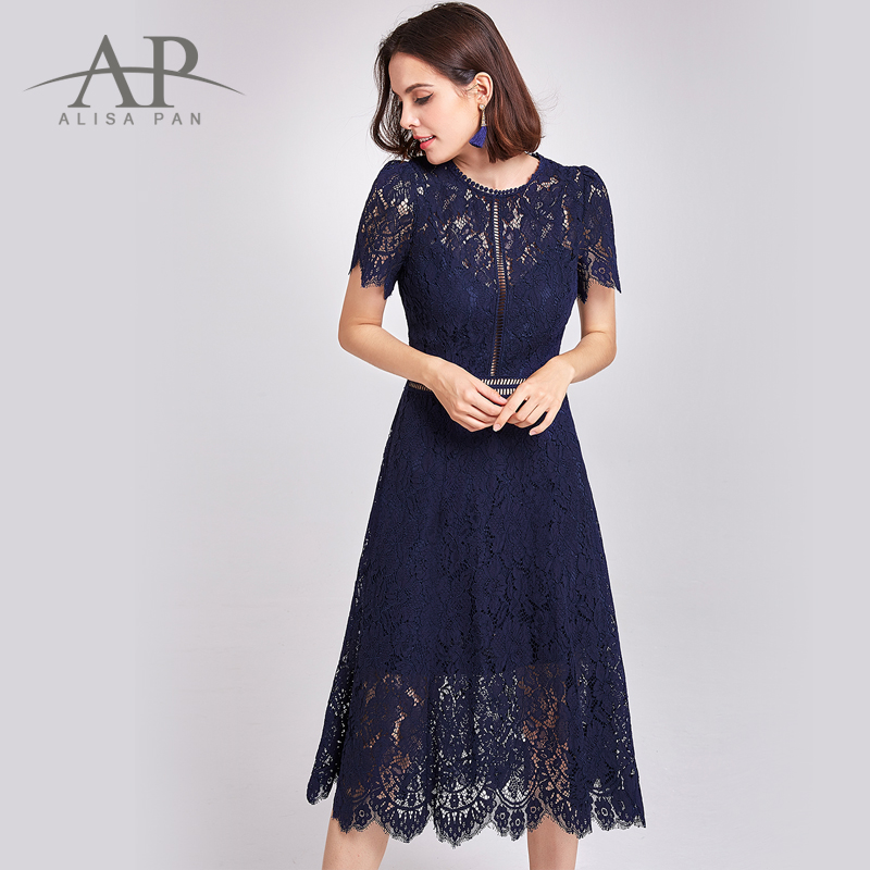 2017 New Women Sexy Lace Evening Dresses O-Neck A-Line Hollow Out Short Sleeve Casual Midi Party Dress