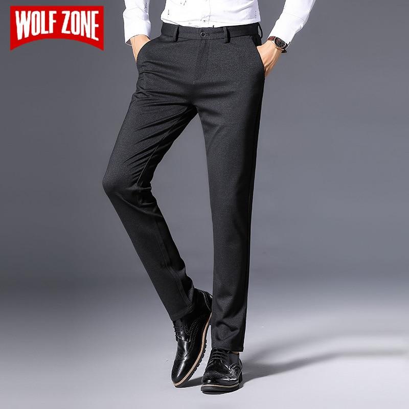 Волк зоны бренд 2018 Для мужчин Брюки для девочек наклонных кармана тонкий прямой эластичность стрейч Для мужчин модные Бизнес Повседневное ...