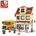 Sluban kits de edificio modelo compatible con lego city bus 454 bloques 3d aficiones modelo educativo y juguetes de construcción para los niños