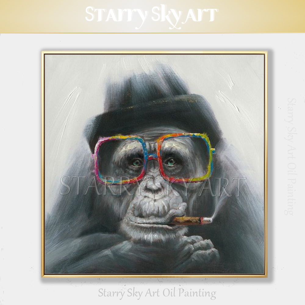 Free Shipping Artist Hand painted Pop Art Modern Animal Smoking Monkey Oil Painting on Canvas Funny Animal Gorilla Oil Painting