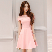 Debowa Lace School Dress Women 2018 New Summer Dresses Short Sleeve O neck Bodycon Women Dress Pink A line Vintage Dress