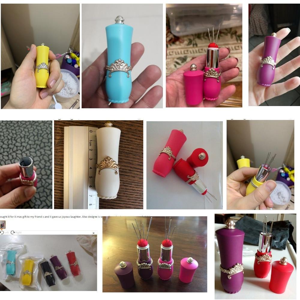 New Craft Lipstick Shaped Needles Pin Kudde med 5 Sewing Needles - Konst, hantverk och sömnad - Foto 6