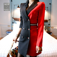 Wonderful Woman Blazer Formal Dress For Work Autumn Double breasted black and red Patchwork Three Quarter Sleeve Pencil Dresses