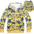 Varejos meninos meninas dos desenhos animados despicable me minion zipper hoodies camisolas de algodão de manga longa crianças