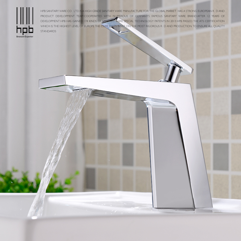 HPB Waterfall Copper Brass Basin Faucet Bathroom Sink Tap Mixer Deck Mounted Hot and Cold Water Single Handle Single Hole HP3045 hpb square brass basin faucet hot and cold water single hole handle sink bathroom faucets mixer tap grifos para lavabos hp3037