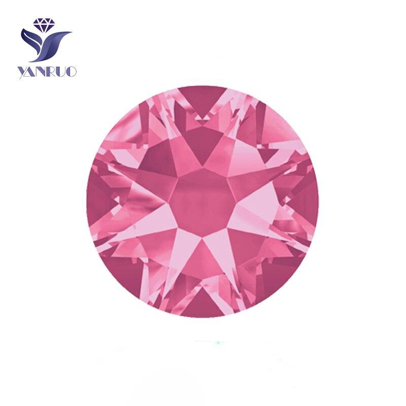 YANRUO # 2088HF SS20 Rose 1440 pcs 8 Grand 8 Petit Cristal Dos Plat Hotfix Strass Strass En Verre Pierre Pour vêtements