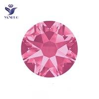 YANRUO 2088HF SS20 Rose 1440Pcs 8 Big 8 Small Crystal Flat Back Hotfix Rhinestone Strass Glass Stone For Clothing