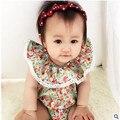 Детская одежда цветочные печатных рождество ребенка комбинезон кружева симпатичные новорожденный ребенок комбинезон летний стиль детская одежда