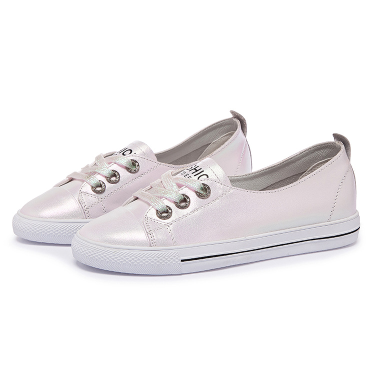 Zhenwei Pearlescent Mirage Cowhide Genius Leather Shoes Summer Tight Recreational Round-Headed ShoesSmall White Sneakers