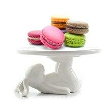 Кролик керамическая тарелка, посуда для десерта еда Сервер лоток, милый торт стенд, посуда ремесла подарок для любителей кухонных принадлежностей