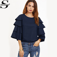 Sheinside Navy Keyhole Back Tiered Ruffle Sleeve Blouse Fall Round Neck 3 4 Sleeve Plain Top
