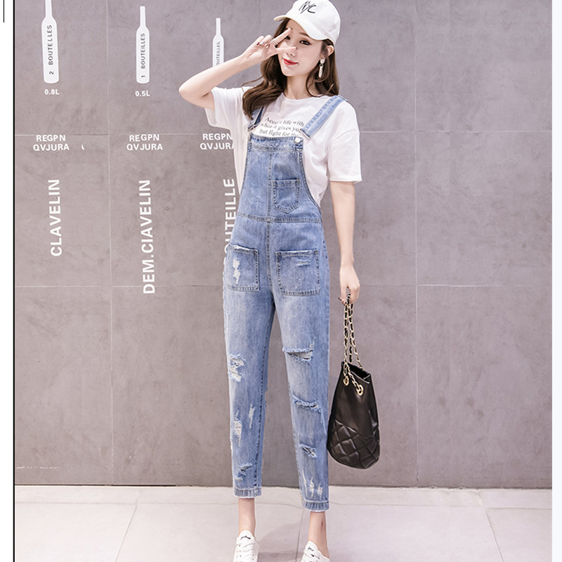 JUJULAND Jean Overalls Ankle-length Pants Casual Loose Hole Ripped Overalls S-XL Blue Jeans  2019