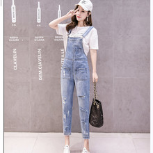 JUJULAND Jean overalls ankle-length pants casual loose hole ripped S-XL blue jeans  2019