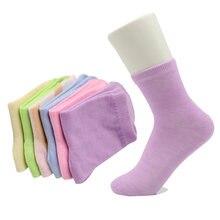Meias femininas de algodão, 5 pares de meias bonitas, cor sólida, confortáveis, para outono e inverno, meia calcetina