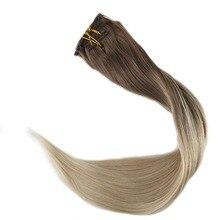 Натуральные блестящие волосы на заколках, 10 шт., волосы для наращивания на заколках, человеческие волосы, волосы для наращивания с двойным плетением, цвет 8 и 60