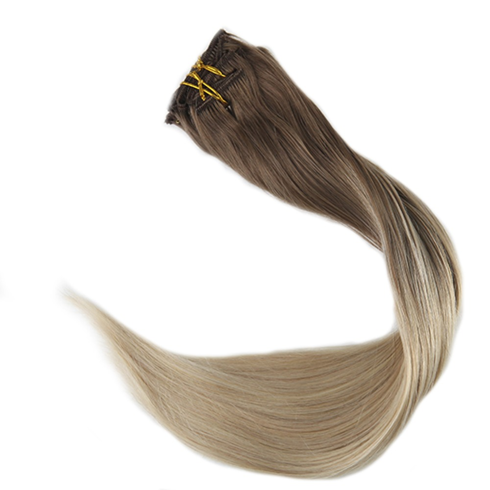 Full Shine Natural Hair Clip Ins 10Pcs Clip In Balayage Hair Extensions Human Hair Double Weft Hair Extensions Color 8 And 60