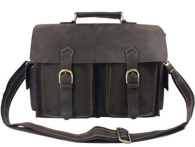 dedfbf39097 2016 Vintage Crazy horse Leather Men Messenger Bags genuine leather  shoulder bags men crossbody bag Handbag toe Briefcase M201#