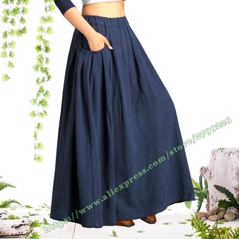 2019 Female Vintage Retro Casual Plus Large Size 6XL 7XL Black Cotton And Linen Folds Ladies Skirt Designs Long Skirts Womens