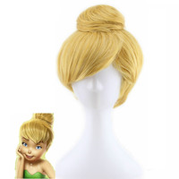 Anime Wig Tinker Bell Short Straight Cosplay Hair Wig Gold Heat Resistant Synthetic Hair Blonde Perruque