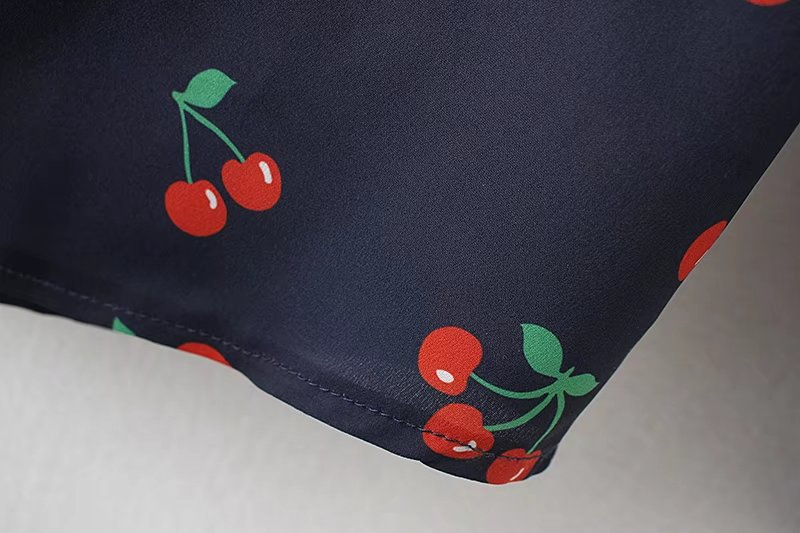 Cuello Blue Vintage Casual Blusas Negro De Tops Y 455w2272 White 455w2272 Para Mujer Moda Blusa Femenina Cereza Yppa7w