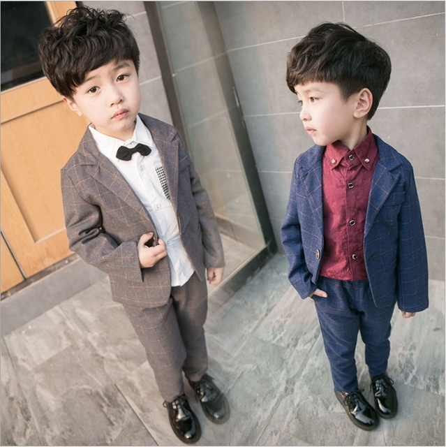 aca6eed0ae5a baby boys formal clothing set kids suit blazer+pants 2 pieces spring 2017  plaid 1~5 years old party clothes children clothing
