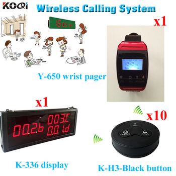 NEWEST Restaurant Wireless Service Devices with 3-key Transmitter Button; Watch Receiver; 3-digit Number Display Free Sh