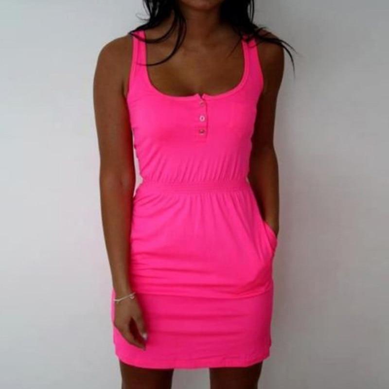 2018 attractive women Dress color Fluorescent Elastic Waist Lady Casual Sleeveless Summer Beach dresses Plus Size s-5xl