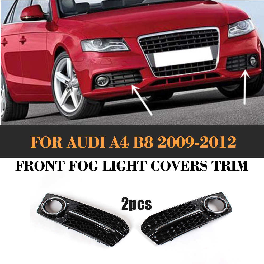 ABS Auto Front Fog Light lamp Cover Trim for Audi A4 B8 Standard Only 2009-2012 2pcs nitro triple chrome plated abs mirror 4 door handle cover combo