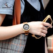 Relogio feminino bobo bird 대나무 여성 시계 가죽 스트랩 쿼츠 아날로그 우드 시계 선물 상자에 로고 수락