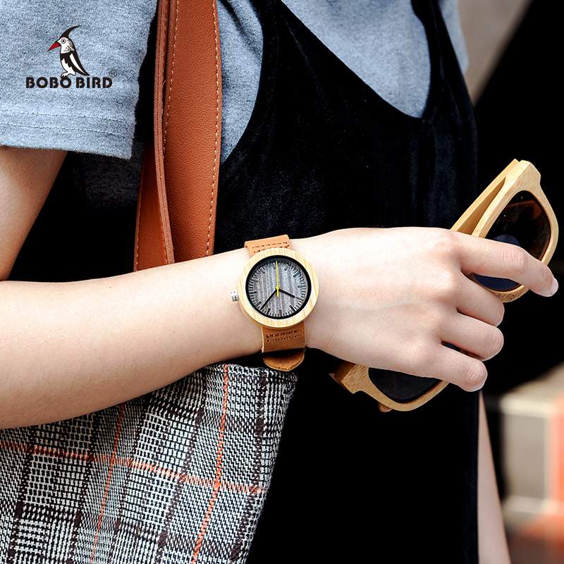 Relogio Feminino BOBO BIRD Bamboo Women Watches Leather Strap Quartz Analog Wood Timepieces In Gift Box Accept Logo