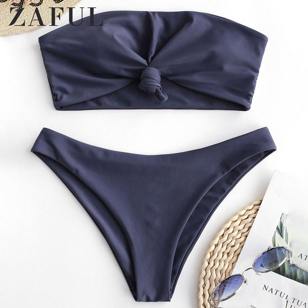 ZAFUL Knot Solid Bandeau Bikini Set Strapless Push Up Sexy Swimsuit Solid Swimwear Women 2019 Casual Bathing Suit Biquinis