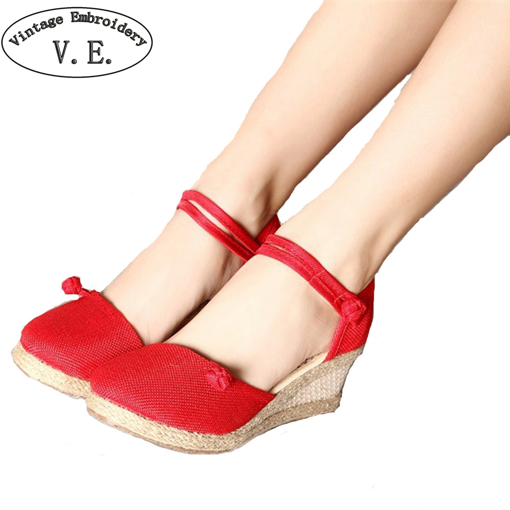 2018 Women Pump Casual Linen Canvas Wedge Sandals Summer Solid Color Close Toe Ankle Strap Med Heel Ladies Platform Shoes