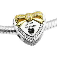 Wedding Day Heart Charm with 14K Real Gold Beads for Jewelry DIY Making 925 Sterling-Silver-Jewelry Fits Brand Charm Bracelet