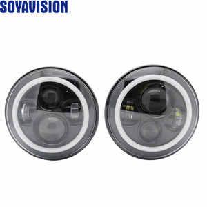 Image 5 - 1ไฟรถคู่Led H4 7นิ้วรถอุปกรณ์เสริมAngel Eyes H4 Ledไฟหน้าสำหรับJeep JK TJ Land Rover defender Lada Niva 4X4นักล่าUaz