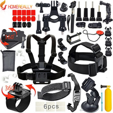 цена на Outdoor Action Camera Accessories Kits for Gopro Hero 5 4 SJCAM SJ4000 SJ5000 Bundles with Chest Harness Mount/Suction Cup Mount